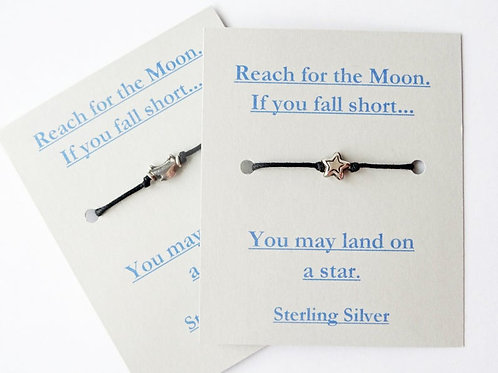 Moon & Star Bracelet - Solid Sterling Silver