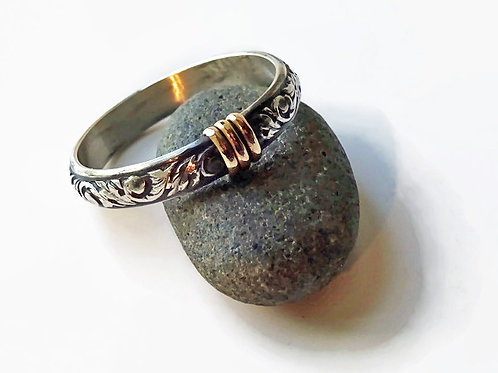 Original Thistle Ring - Solid sterling & 14ktgf accents