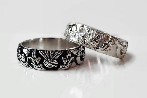 Thistle Knot Band - Outlander - Solid Sterling Silver