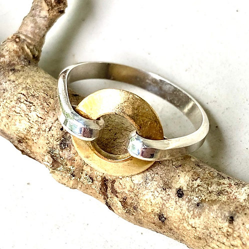 Solid Sterling Silver Band - Gold Brass Circle Centerpiece