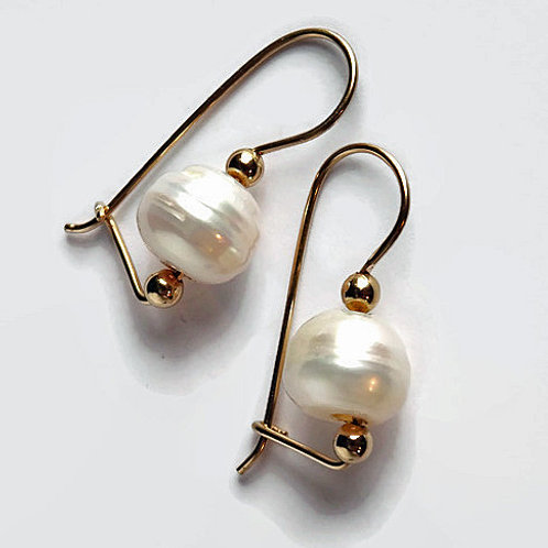 Pearl Earrings - 14kt gf - Brianna Baroque