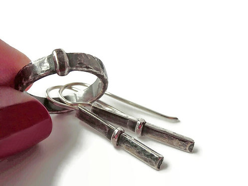 SET - Sporran Key Earrings and Ring - Solid Sterling
