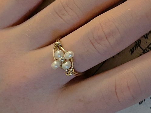 Pearl Daphne ring - Natural pearl, 14ktgf and Sterling