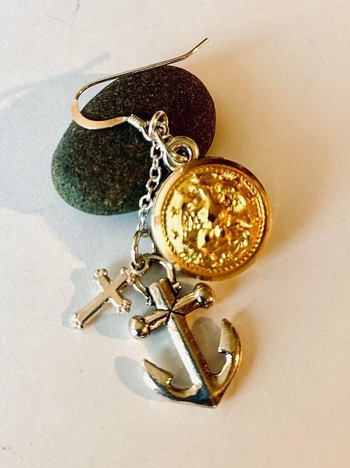 Navy Uniform button Earrings, Anchor & Cross