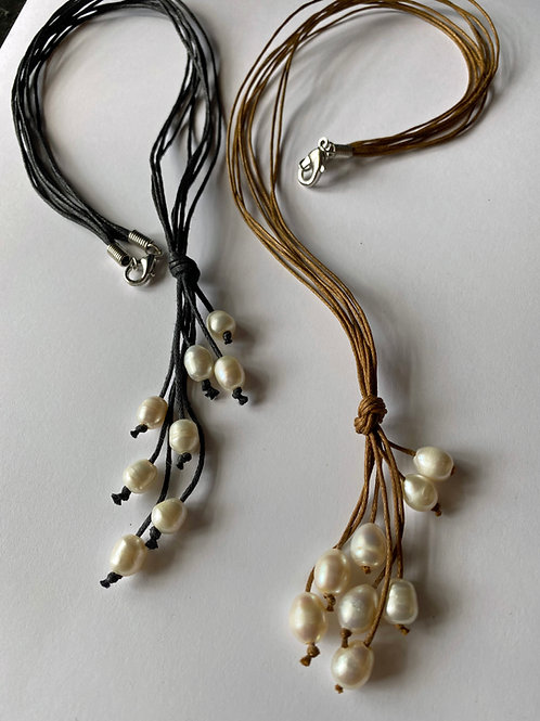 Multi strand pearl necklace - 20 inch