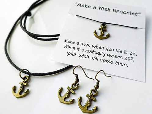 Voyager Set - Anchor Earrings, Necklace and Wish Bracelet