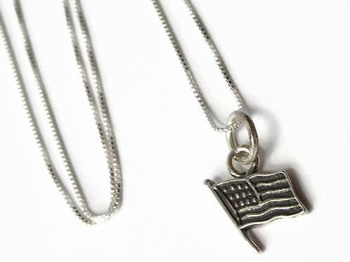35% OFF American Flag Necklace - Solid Sterling