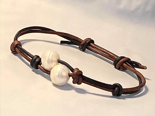 Love Bracelet - Leather & Pearls