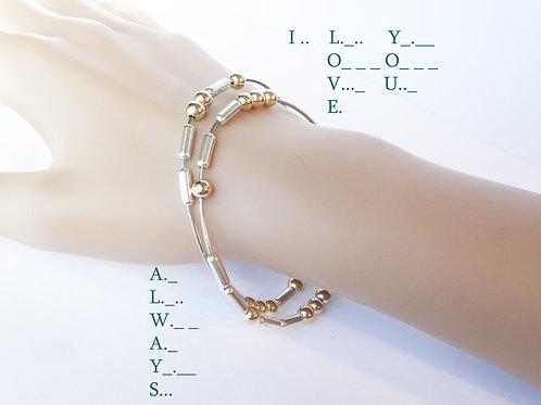 Morse Code - Hook Bangle Bracelet