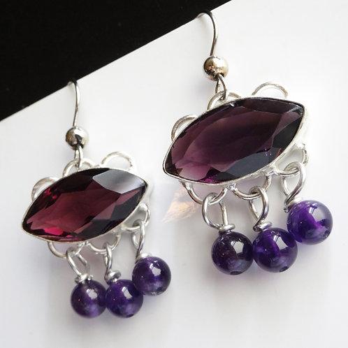 Thistle Drop Earrings - Silver Bezel Settings