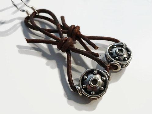 Boho Earrings - Sterling & Leather