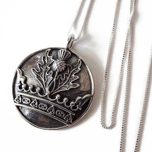 Thistle & Crown Necklace - Solid Sterling Silver