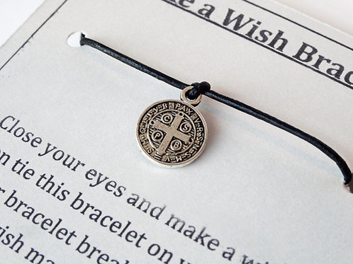 Wish Bracelets - Cross Charm - Leather Cording