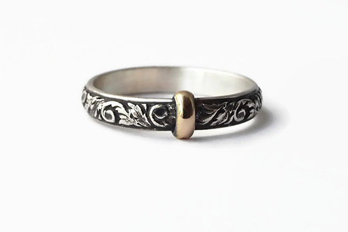 Original Thistle Ring - Solid sterling & 14ktgf accent