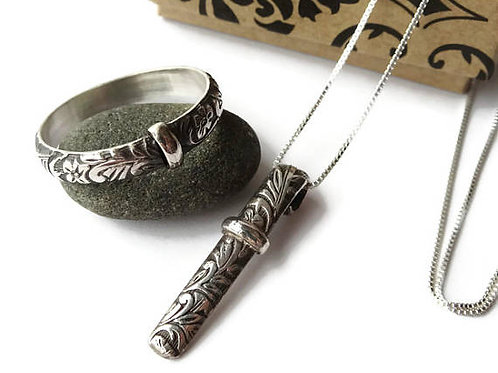Celtic Filigree Band & Necklace set - Sterling Silver