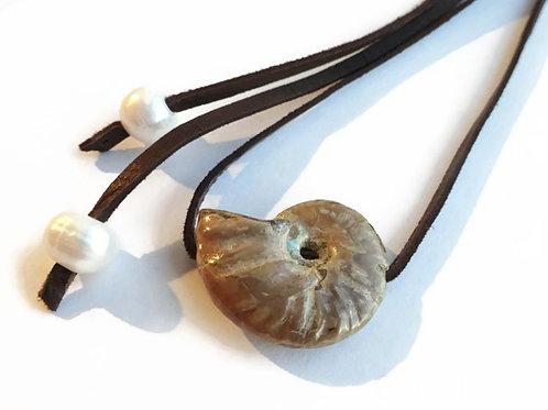 50% OFF - Natual Ammonite & Pearls - Long Wrap Necklace - Adjustable - OOAK