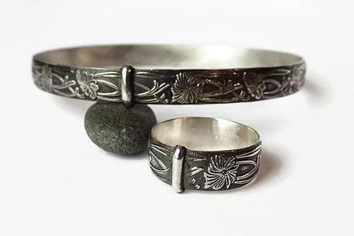 Set - Wide Celtic Filigree - Solid Sterling Silver