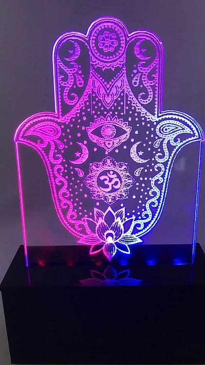 Luminária hamsa bicolor Flor de Lótus