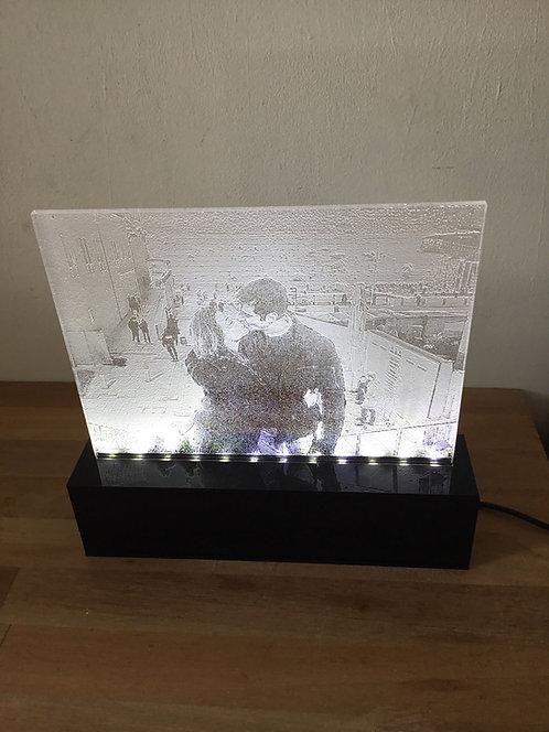 Luminária com foto gravada