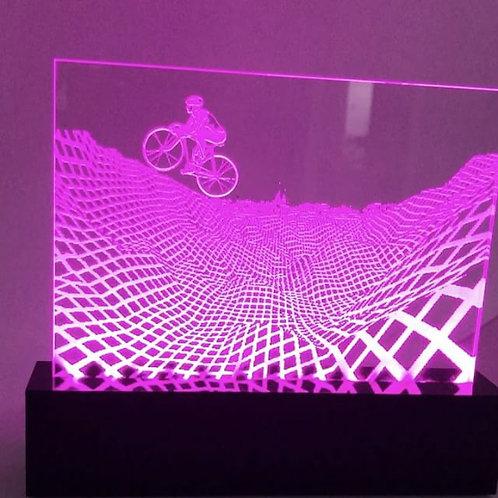 Luminária com bike efeito 3D