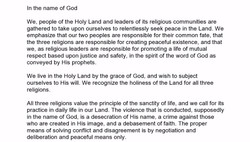 Declaration of the Spain Summit for Religious Peace in the Middle East