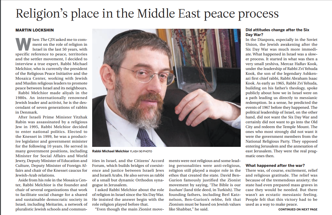 Interview in Canadian Jewish News