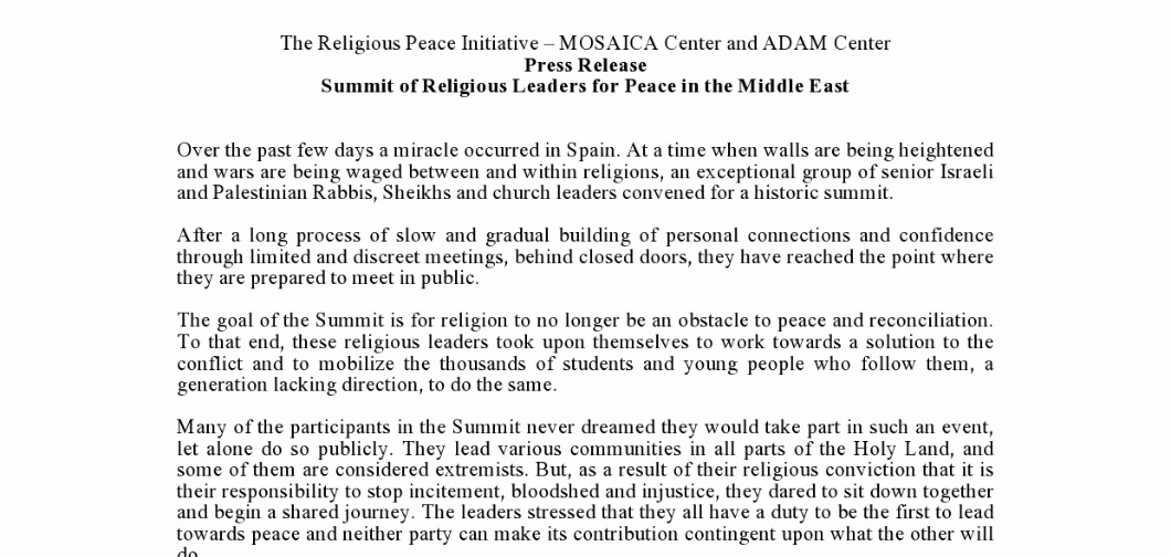 Press Release: Religious Leaders