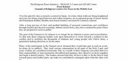 Press Release: Religious Leaders