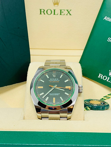 Rolex Milgauss Black Dial Green Crystal 116400 *MINT*