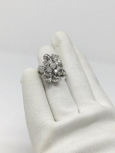 Fancy Handmade 18K White Gold Cocktail Diamond 3.5Ct Ring