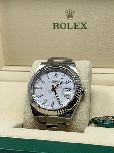 Rolex Datejust II 41mm white gold fluted bezel white dial 116334
