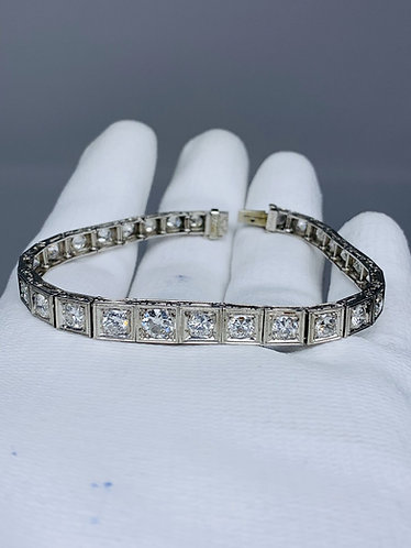 Platinum Art Deco European Cut Diamond Bracelet