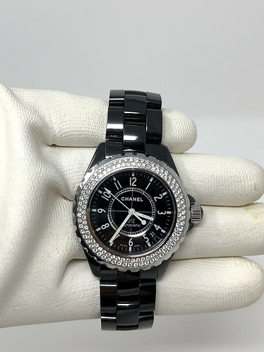 Chanel Black Ceramic J12 Factory Diamond Bezel