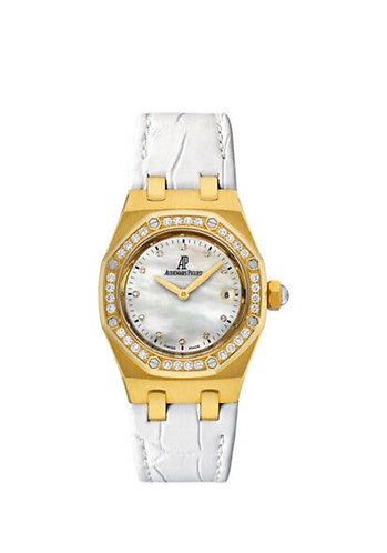 Audemars Piguet Royal Oak Ladies, MOP Dial, Factory Diamond Bezel - Yellow Gold