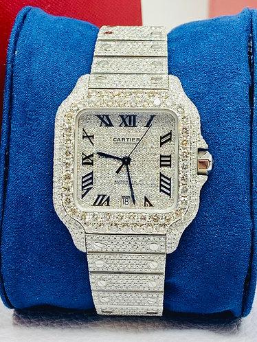 "Cartier Santos De Cartier Iced out Diamond watch ""VS Quality"" Black Roman Dial"