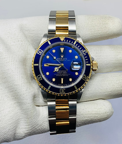 Rolex 16613 Blue Dial Submariner Date Two Tone