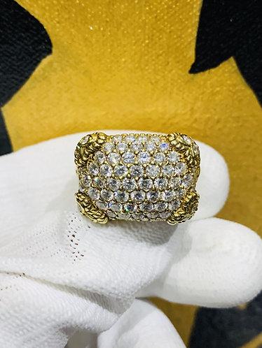 Judith Ripka Pave Diamond Ring in 18K Yellow Gold