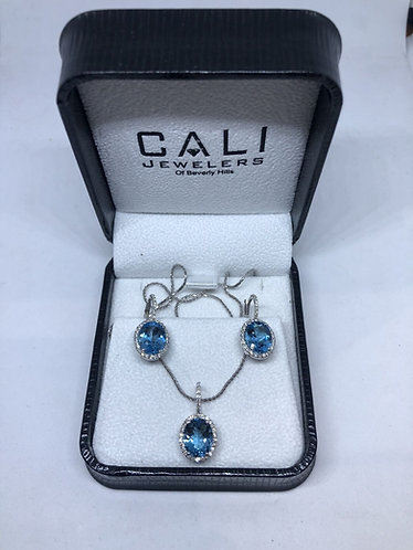 14K White Gold Oval Aquamarine Diamond Earrings & Necklace Set
