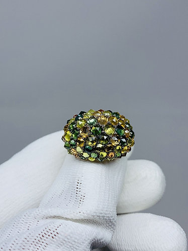 18K Yellow Gold & Multi Color Natural Sapphire Ring | 10.00CT