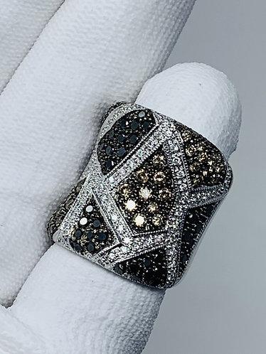 14K White Gold Black, Brown & White Diamond Ring