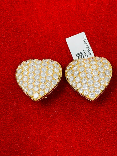 Top Quality 15CT Diamond Heart Shaped Earrings *French Designer*