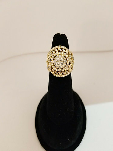 18k Yellow Gold 3.5 CT Diamond Ring baguettes and round brilliant