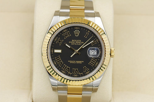 Rolex Datejust II 41mm Black Roman Dial Two-Tone 116333