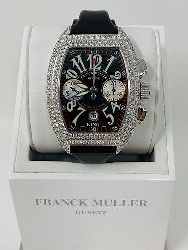 Franck Muller King Conquistador Whitegold w/ Factory Diamond Case 8005 CC King D