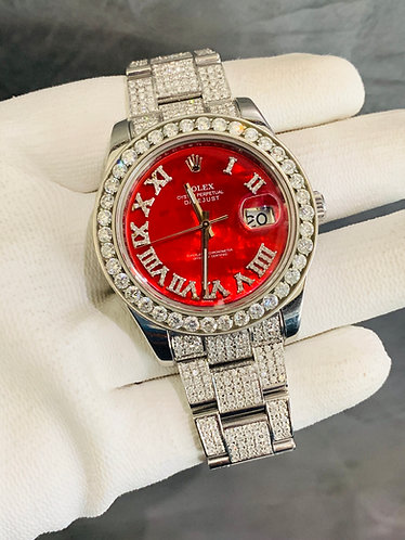 Rolex Datejust II Iced Out Red RomanDial