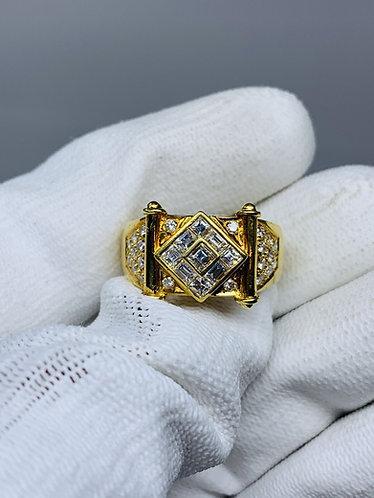 18K Yellow Gold Asscher Cut Diamond Ring *Top Quality Diamonds*