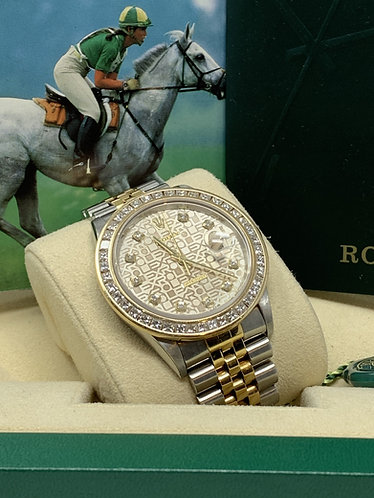 Rolex Datejust 16233 Factory Jubilee Diamond Dial w/ Custommade Diamond Bezel