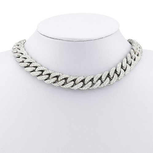 18K White Gold Diamond Cuban Chain
