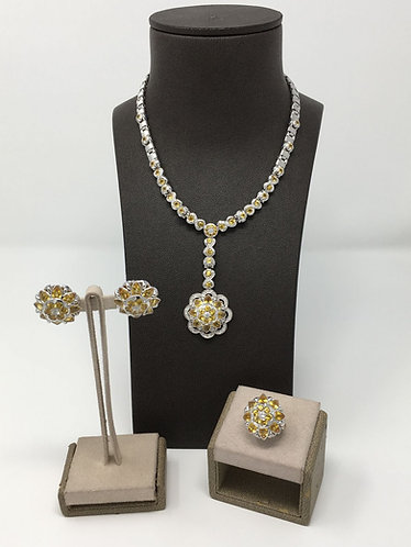 18K White Gold Diamond & Yellow Sapphire Necklace, Earrings, & Ring Set