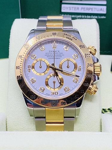 Rolex Daytona Two Tone Factory White Diamond Dial 116523